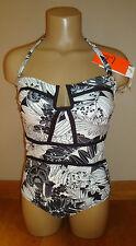 New $86 Leilani Women's 1 Piece Swimsuit Antigua Black and White Tropical Sz 10
