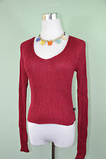 GAS Designer Ladies Vtg Wine Raspberry Knit Shiny Plunge Ribbed Jumper sz S L54