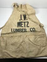 Antique J.W. Metz Lumber Advertising Apron Smock Aurora Colorado Wichita Kansas