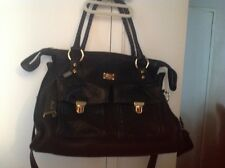 NWT! JENRIGO BLACK LEATHER LARGE WITH TWO PACK IN THE FRONT TOTE ITALY BAG $349