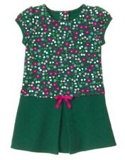 NWT Gymboree PLUM PONY Green Flower Floral Quilted Pleated Girls Dress 5t