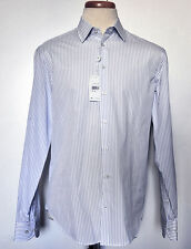 $225 NWT Armani Collezioni Mens Dress Shirt White with Blue Stipe Sz 16L 41