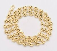 4.5mm Puffed Gucci Anchor Mariner Chain Necklace 14K Yellow Gold Clad Silver