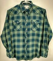 Wrangler Mens XL Flannel Western Shirt Green Plaid Long Sleeve Pearl Snap Cotton