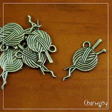 Bronze Ball of Wool & Knitting Needle charms ~PACK of 10~ knit pendant yarn