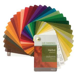 """Stoff-Farbpass, 30 Farben, Herbst """"Neo"""" zur Farbberatung - Farbfächer Herbsttyp"""