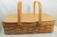 Longaberger Medium Gathering Basket w/ Lid and Protector