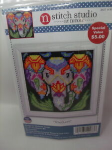 """Design Works ELEPHANT  Needlepoint Kit 5"""" x5"""" Painted Canvas"""