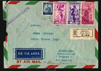 1951 italia Italy Air mail cover registered  to Uruguay 385lire fee