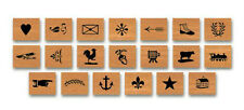 Cavallini MINI VINTAGE ICON LETTERPRESS 20 Assorted Wooden Rubber Stamps in Tin