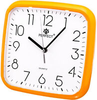 Square Wall Clock - PERFECT - Orange Case , Easy-to-read Dial