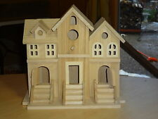 Unfinished Wood Decorative Three Apartment Townhouse Birdhouse