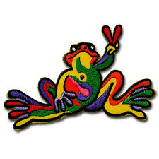 Colorful Frog Patch Iron on Sew Applique Peace Victory Cartoon Animal Hippie DIY