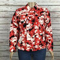 Liz Claiborne Floral Print Jean Jacket 18W PLUS Orange Black Ivory Floral Cotton