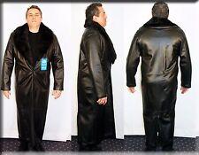 Brand New Mens Black Lambskin Leather Coat Mink Fur Collar Size Large L 44 46