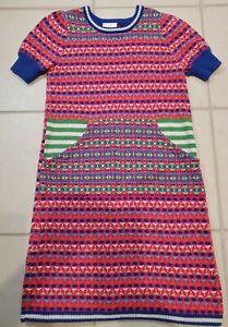 Hanna Andersson Colorful Cotton Knit Dress~Kangaroo Pocket~Size 140 (9-11 yrs)