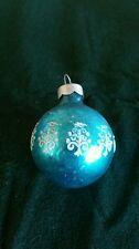"""Vintage Raised Stencil Blue Shiny Brite Mercury Glass Christmas Ornament 1.75"""""""