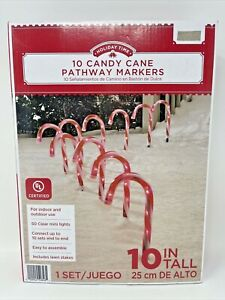 """New Holiday Time 10 Candy Cane Pathway Markers Lighted 10"""" Tall Christmas"""