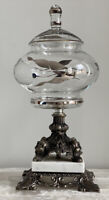 Vintage AB Moulds 513 Metal Marble Silver Glass Pedestal Lidded Bowl Compote Jar