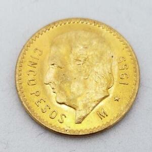 1955 Mexico GOLD 5-Peso Coin BU++ .1206AGW L9279