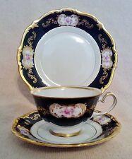Eberthal 8159 Echt Kobalt Trio~ Cup~Saucer~Plate~Cobalt Blue~Pink~Gold Trim