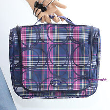 NWT Coach Tartan Plaid Travel Cosmetic Make-up Case F77311 Blue Multicolor NEW