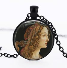 Portrait Pendant Black Glass Cabochon Necklace chain Pendant Wholesale