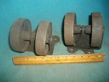 L788 Matching Pair Of Double Cast Iron Wheels Industrial Rusty Swivel Steampunk
