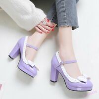 Mary Jane Bowknot Women's Sweet Buckle High Block Heel Platform Pumps Shoes Hot