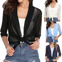 Women Ladies Cropped Bolero Shrug Cardigan Short Tops Tie Front 3/4 Sleeves