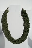 "Braided Wide Multi Strand Glass Seed Bead Vintage Green 18-20"" Collar Necklace"