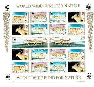 SPECIAL LOT WWF Mongolia 1995 2209-12 - Saiga - 5 Sheets of 16 - MNH