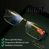 Progressive Multifocal Presbyopia Eyeglasses Simple Diamond-cut Reading Glasses~