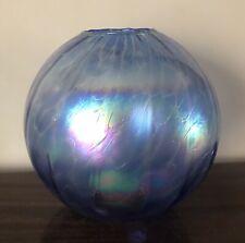 More details for vintage iridescent glass hand blown globe orb oil lamp shade art neuveau