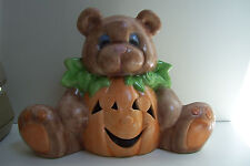 Halloween Teddy Bear & Pumpkin Votive or Tea Light Holder Ceramic Figurine