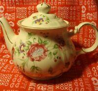 Vintage Sadler Made England Ivory Full Size Teapot #3684 Floral Gold Trim    357