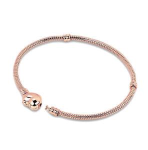 Moments Heart Clasps Rose Gold Charm Bracelet Snake Chain European Bracelets