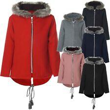 Mädchen Kinder Fleece Jacke mit Fell Kapuze Hoodie Stoffjacke Winterjacke 21554