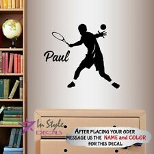 Vinyl Decal Tennis Player Customized Boys Name Sport Kids Bedroom Wall Sticker 4