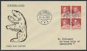 GREENLAND. FDC 1965 September 30. 50 Øre red Frederik IX, block of 4 (PK1291)