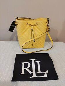NWT Lauren Ralph Lauren Mini Debby II Plaid Quilted Leather Beach Yellow $195