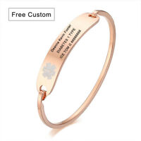 Rose Gold Women Medical Alert ID Bracelet Cuff Bangle Personalize Custom Engrave
