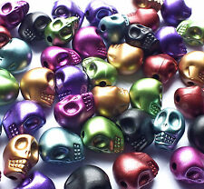 50 x 12mm Metallic Mixed Colour Skull Head Beads Charms Acrylic Plastic Gothic
