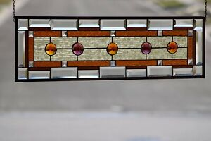 """Amber & Amethyst Beveled, Jeweled Stained Glass Window Panel 35 3/4"""" x 10 3/4"""""""