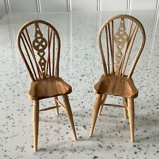 Dolls house miniature 1:12 HANDMADE pair of kitchen chairs by DEN YOUNG - 1990