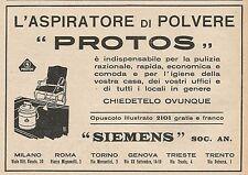 Z0538 Aspiratore di polvere PROTOS - Siemens - Pubblicità del 1927 - Advertising