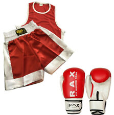 KIDS BOXING UNIFORM SET 2 TOP & SHORTS WITH BOXING GLOVES AGE 3-14 YEARS