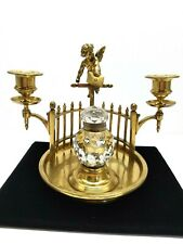 Vintage Art Deco nouveau brass cherub candle inkwell removable candle holders ''
