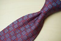 Ermenegildo Zegna Cherry Red Admiral Blue Geometric Square 100% Silk Tie