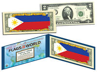 PHILIPPINES - Flags of the World Genuine Legal Tender U.S. $2 Bill Currency